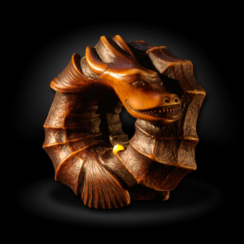 Hand Carved Boxwood Dragon Netsuke