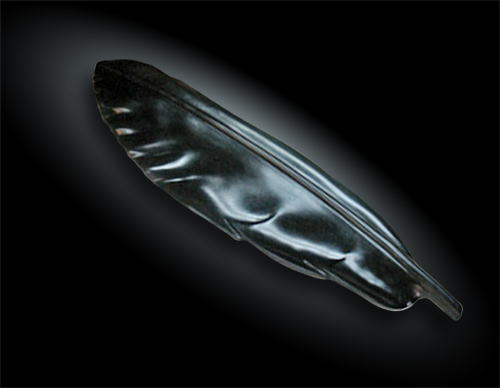 Sculptured Feather in Australian Black Jade