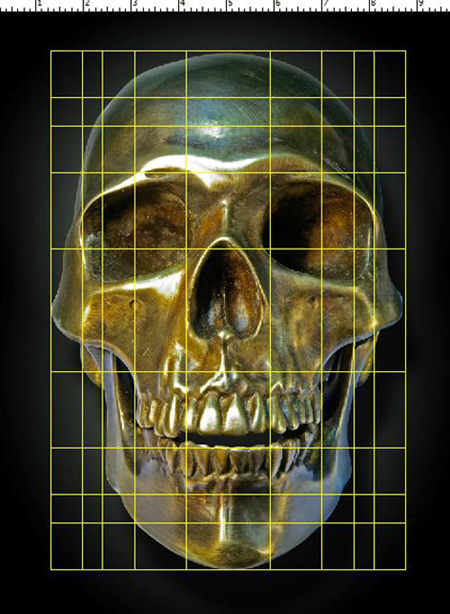 PhiMatix Grid Overlay on Bronze Skull